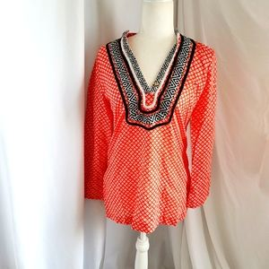 Cynthia Rowley embrodered v neck colorful small